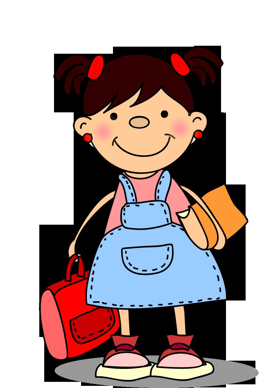 Clipart iki kuyruklu çantalı kız çocuk resmi png