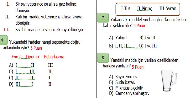 4.Sınıf Fen Bilimleri 2.Dönem 1.Yazılı Sınavı (İkinci Dönemi Kapsar)