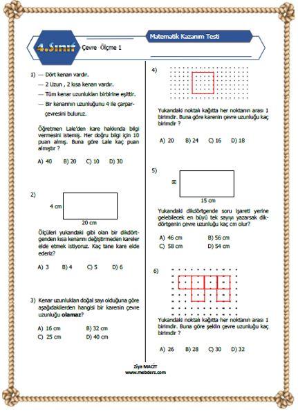 4. Sınıf Matematik Çevre Ölçme Kazanım Testi