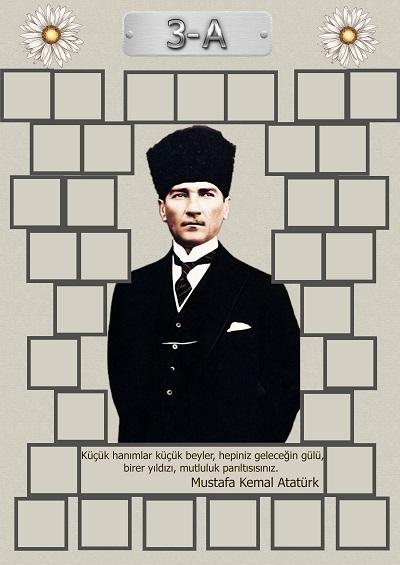 Model 15, 3A şubesi için Atatürk temalı, fotoğraf eklemeli kapı süslemesi - 33 öğrencilik