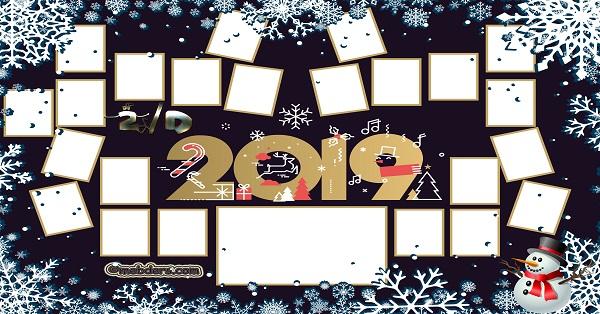 2D Sınıfı için 2019 Yeni Yıl Temalı Fotoğraflı Afiş (23 öğrencilik)