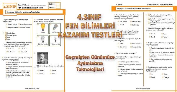4.Sınıf Fen Bilimleri Kazanım Testi - Geçmişten Günümüze Aydınlatma Teknolojileri