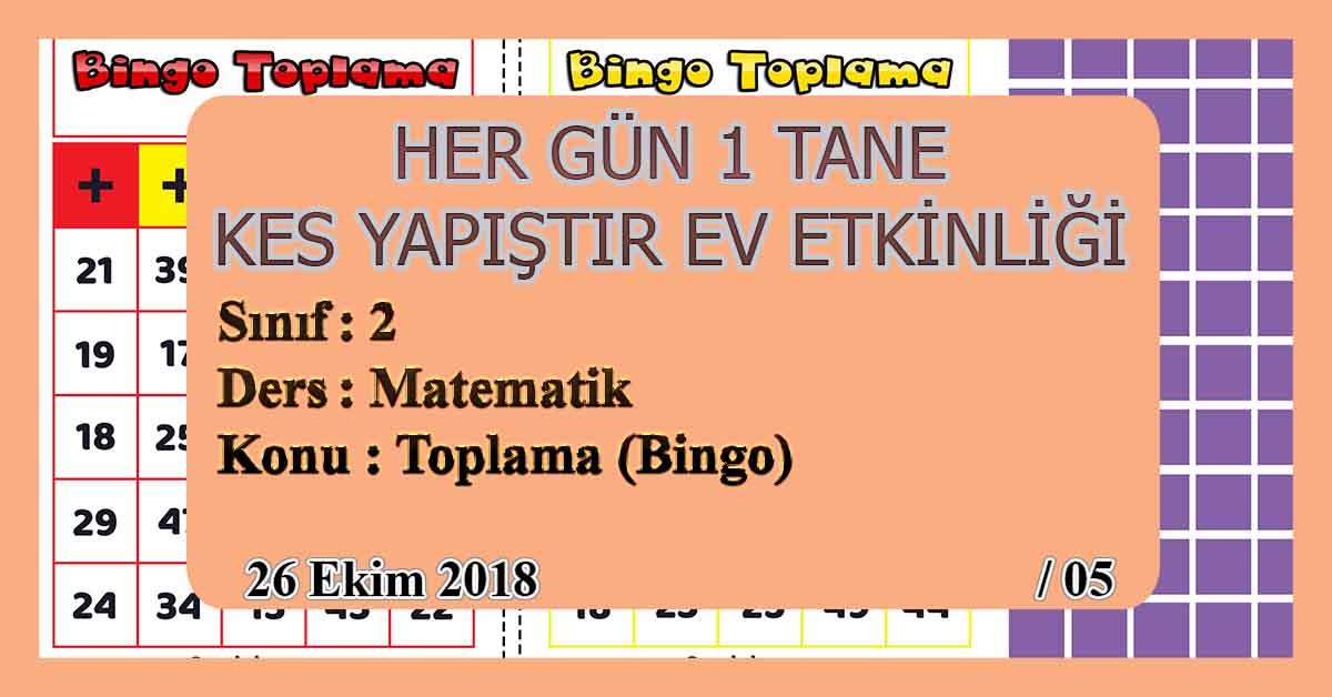 2.Sınıf Günlük Kes Yapıştır Ev Etkinliği - Toplama Oyunu (Bingo)