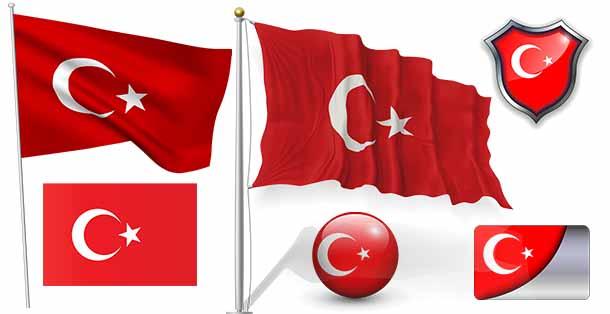 Yüksek Çözünürlüklü PNG Türk Bayrakları