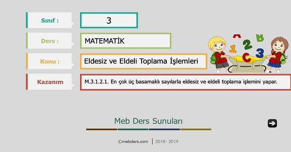 3.Sınıf Matematik Eldesiz ve Eldeli Toplama İşlemleri Sunusu