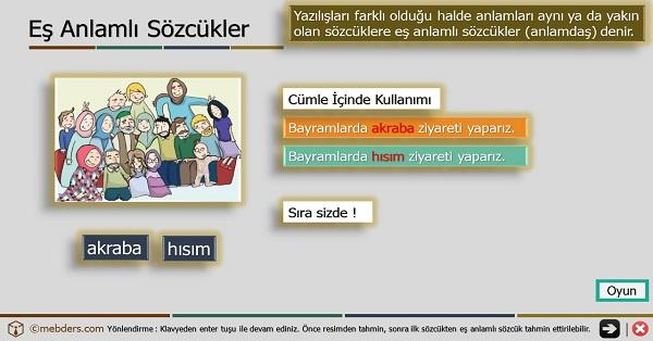 3.Sınıf Türkçe Oyunlu ve Şarkılı Eş Anlamlı Kelimeler Sunusu