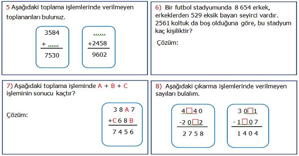 4.Sınıf Matematik 2.Ünite Değerlendirme Etkinliği