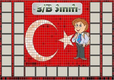 Model 54, 3B şubesi için Türk bayraklı fotoğraf eklemeli kapı süslemesi - 34 öğrencilik