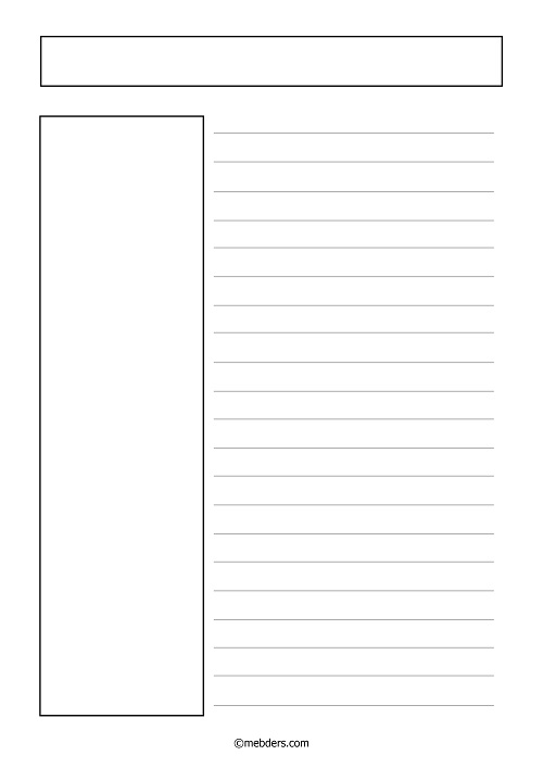 Solda uzun dikey resim alanı ile yazı şablonu