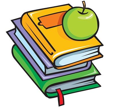 Üzerinde elma duran kitaplar png