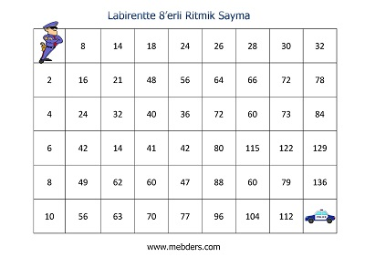 Labirentte 8'erli Ritmik Sayma