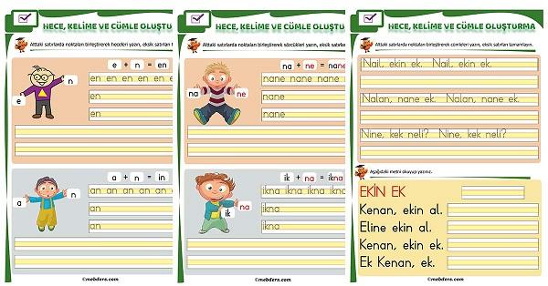 1.Sınıf İlk Okuma N Sesi Birleştirme Etkinliği