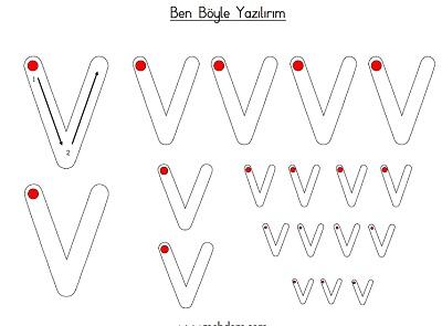 Küçük v harfi ben böyle yazılırım etkinliği