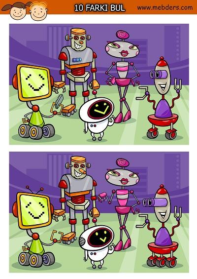 Güzel robotlar arasındaki 10 farkı bulma etkinliği