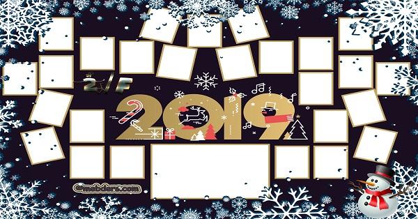 2F Sınıfı için 2019 Yeni Yıl Temalı Fotoğraflı Afiş (26 öğrencilik)