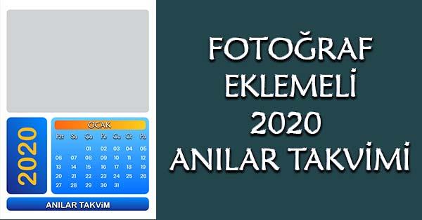 Fotoğraf eklemeli 2020 anılar takvimi