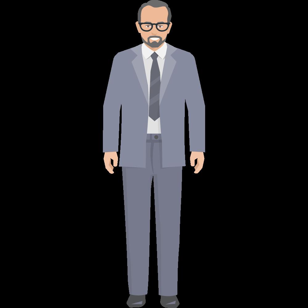 Clipart gözlüklü takım elbiseli yetişkin erkek resmi