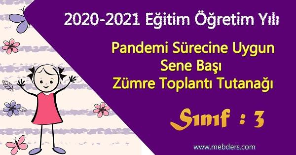 2020-2021 Yılı Pandemi Sürecine Uygun 3.Sınıf Sene Başı Zümre Toplantı Tutanağı