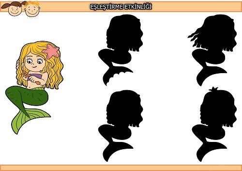 Saçını tarayan deniz kızı gölgesi eşleştirme etkinliği