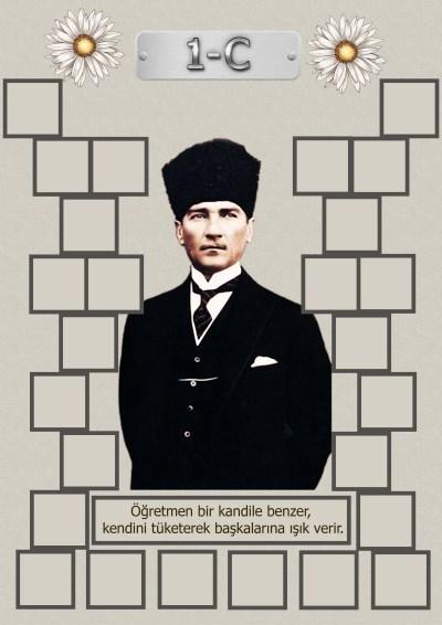 Model 15, 1C şubesi için Atatürk temalı, fotoğraf eklemeli kapı süslemesi - 26 öğrencilik