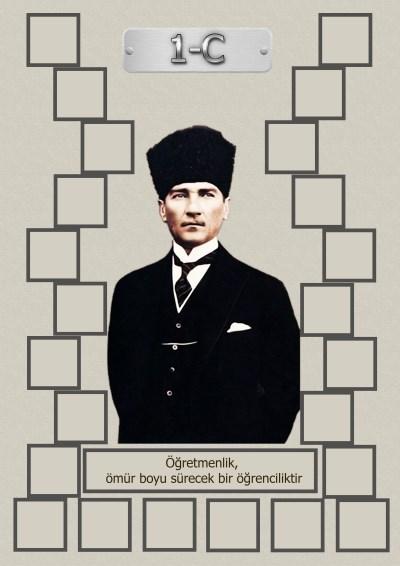 Model 15, 1C şubesi için Atatürk temalı, fotoğraf eklemeli kapı süslemesi - 24 öğrencilik