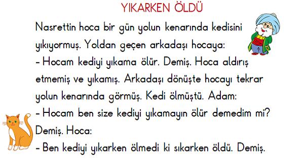1 Sinif Turkce Okuma Ve Anlama Nasrettin Hoca 6 Meb Ders