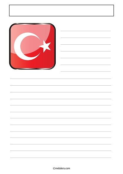 Üst solda Türk Bayrağı desenli yazı şablonu