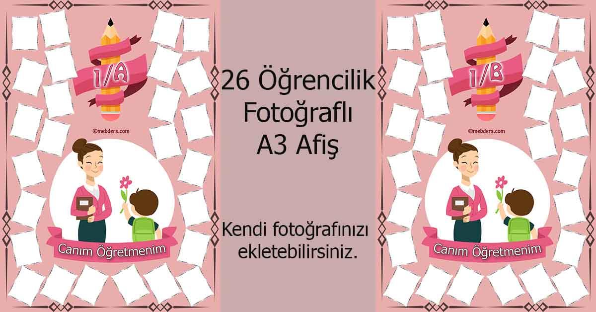 Fotoğraf eklemeli öğretmen ve öğrencilerine özel 1.sınıf afişleri