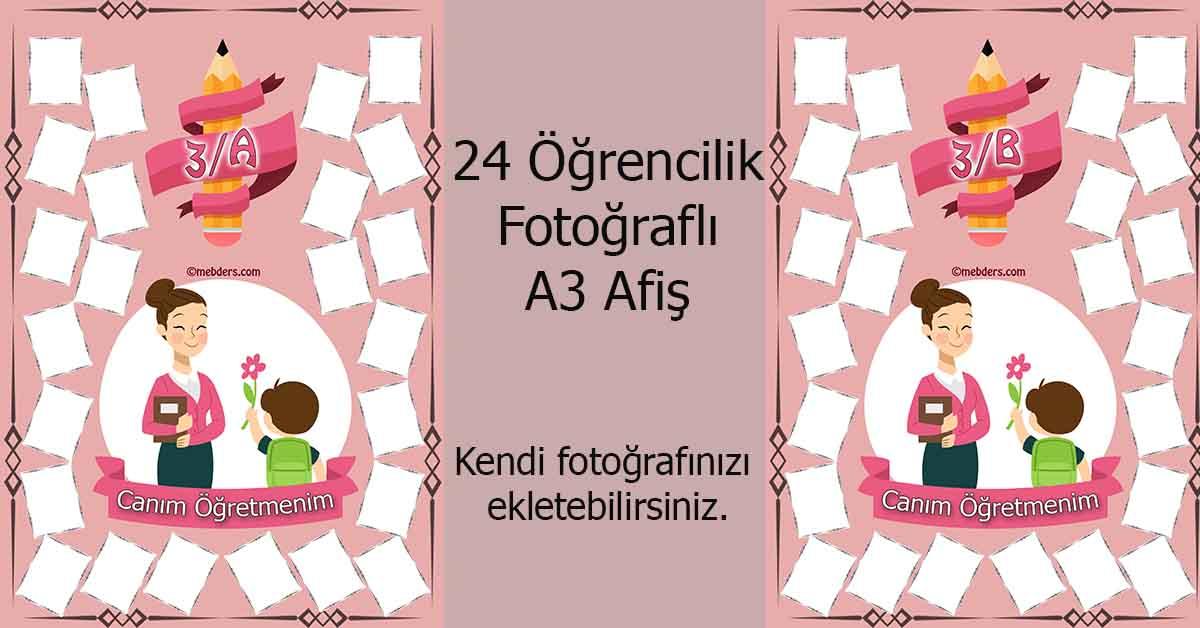 Fotoğraf eklemeli öğretmen ve öğrencilerine özel 3.sınıf afişleri