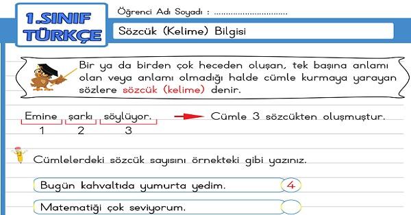 1.Sınıf Türkçe Sözcük Bilgisi Etkinliği