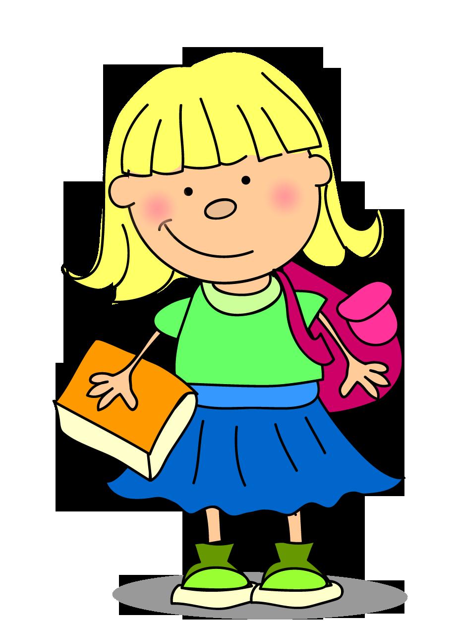 Clipart elinde kitabıyla kız çocuk resmi png
