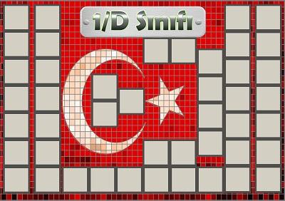 Model 54, 1D şubesi için Türk bayraklı fotoğraf eklemeli kapı süslemesi - 45 öğrencilik