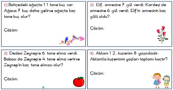 1.Sınıf Matematik Toplama İşlemi ile İlgili Problemler 2