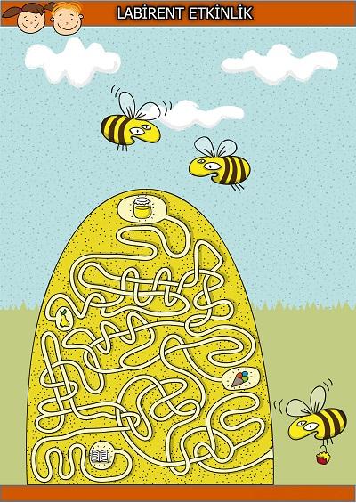 Şaşkın arılar labirent bulmaca etkinliği
