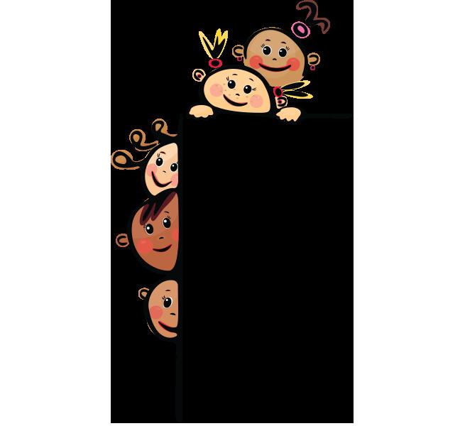 Şeffaf pano yanında ve üstünde gizlenmiş çocuklarla çerçeve resmi