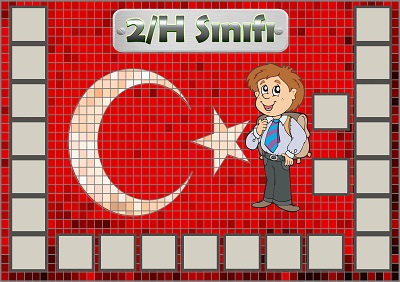 Model 54, 2H şubesi için Türk bayraklı fotoğraf eklemeli kapı süslemesi - 23 öğrencilik