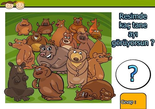 Resimde kaç tane ayı var ? Eğlenceli matematik etkinliği
