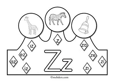 1.Sınıf İlkokuma Harfli Taçlar - Z Sesi