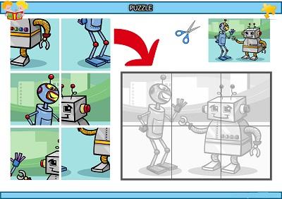 Kes yapıştır sevimli robotlar puzzle etkinlik