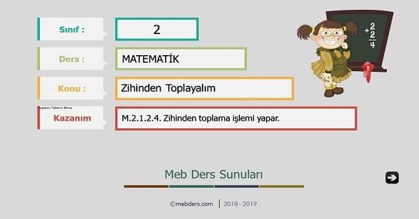 2.Sınıf Matematik Zihinden Toplayalım Sunusu