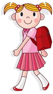Clipart sırtında okul çantasıyla yürüyen kız çocuğu png