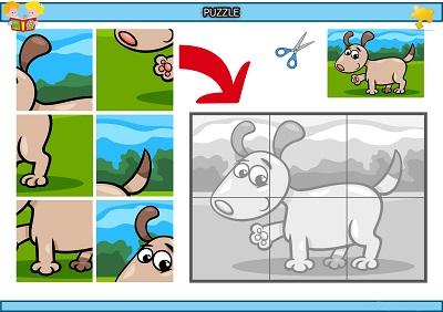 Kes yapıştır patisini gösteren köpek puzzle etkinlik