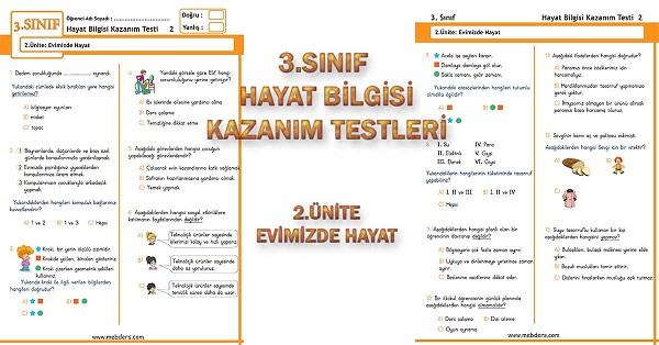 3.Sınıf Hayat Bilgisi Kazanım Testi - 2.Ünite - Evimizde Hayat