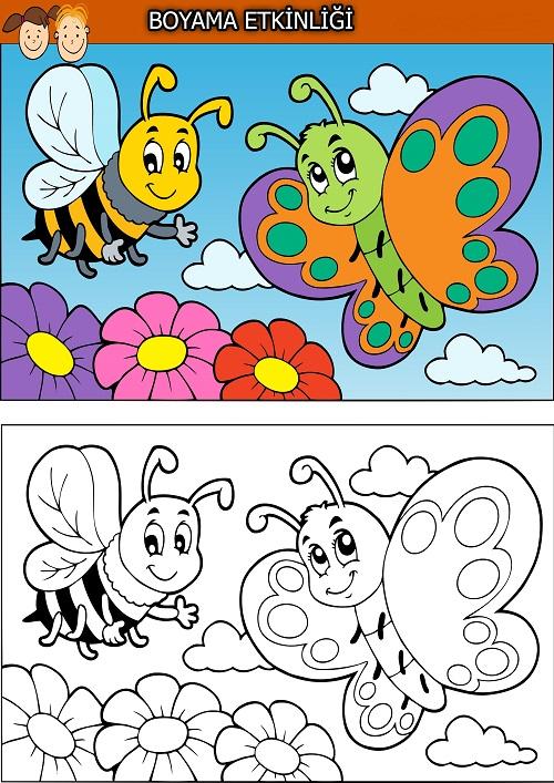 Arı Ve Kelebek Boyama Etkinliği Meb Ders
