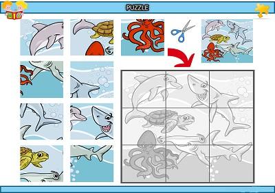 Kes yapıştır deniz canlıları puzzle etkinlik
