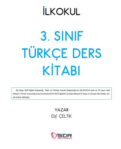 2018-2019 Yılı 3.Sınıf Türkçe SDR Yayıncılık Ders Kitabı pdf