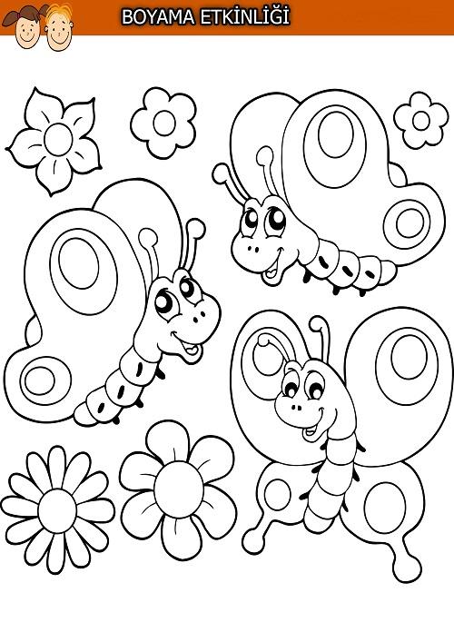 Sevimli üç Kelebek Boyama Etkinliği Meb Ders