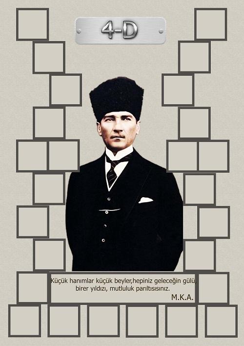 Model 15, 4D şubesi için Atatürk temalı, fotoğraf eklemeli kapı süslemesi - 26 öğrencilik
