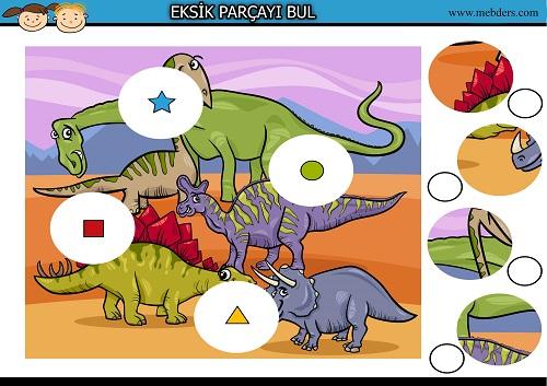 Dinozorlardaki eksik parçayı bulma etkinliği