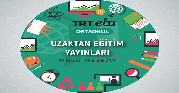 30 Kasım - 6 Aralık Arası EBA TV Ortaokul Yayın Akışı, Dersler, Konular